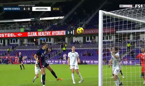 Sixth goal for USWNT scored by Christen Press off corner kick
