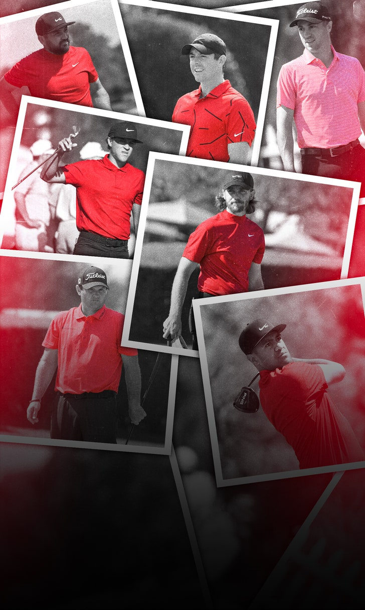 Golfers Honor Tiger In Red And Black